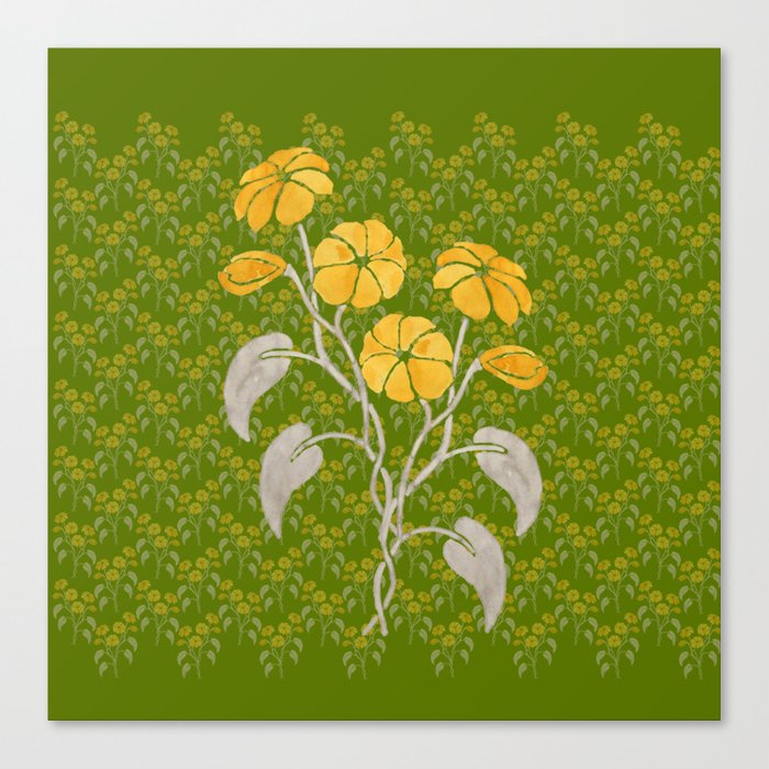 Flowers Green Pattern Canvas Print