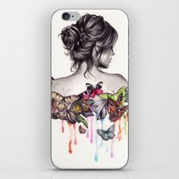 woman iPhone & iPod Skins featuring Butterfly Effect by KatePowellArt