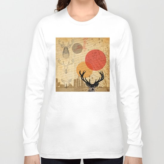deer in the city Long Sleeve T-shirt
