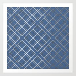 Simply Mid-Century in White Gold Sands on Aegean Blue Art Print