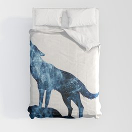 Howling Wolf blue sparkly smoke silhouette Comforters