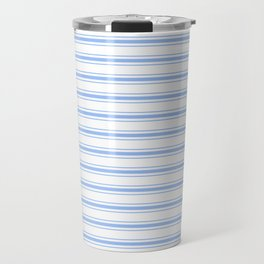Mattress Ticking Wide Striped Pattern in Pale Blue and White Travel Mug