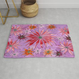 Red and pink florals Rug