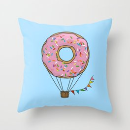 Donut Hot Air Balloon Throw Pillow
