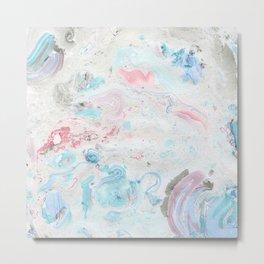 Abstract hand painted pink teal aqua  watercolor marble Metal Print