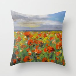 Poppy Field with Storm Clouds Throw Pillow