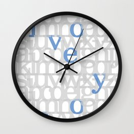 The ABC of i love you. In Blue.  Wall Clock