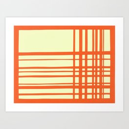 Orange and cream plaid Art Print