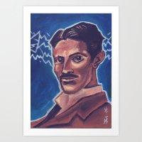 tesla Art Prints featuring Tesla by Jedidiah Morley