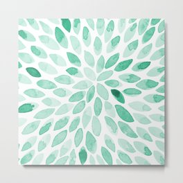 Watercolor brush strokes - aqua Metal Print