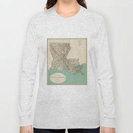 Vintage Map of Louisiana (1887) Long Sleeve T-shirt