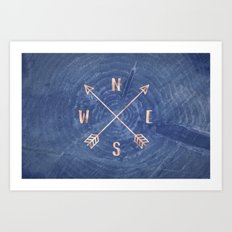Rosegold and Blue Compass Art Print