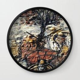 Metallic Melodrama III - Mixed Media Beeswax Encaustic Acrylic Abstract Modern Fine Art, 2015 Wall Clock