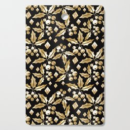 Christmas pattern.Gold sprigs on a black background. Cutting Board