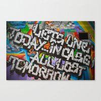 grafitti Canvas Prints featuring Grafitti by BrandNewMindsPhoto