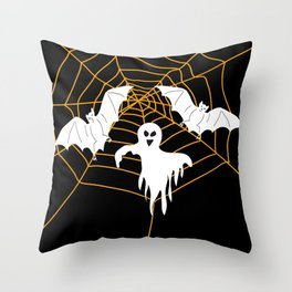 Bats and Ghost white - black color Throw Pillow