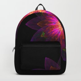 Abstract purple flower 01 Backpack