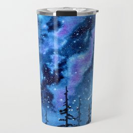 Blue Milky Way landscape, watercolor illustration Travel Mug