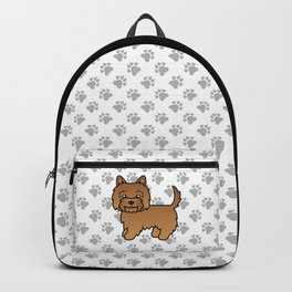 Cute Red Cairn Terrier Dog Cartoon Illustration Backpack