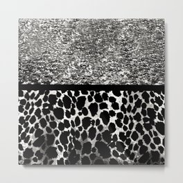 Animal Print Leopard Silver and Black Metal Print