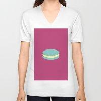 macaron V-neck T-shirts featuring Macaron by Diapeirein