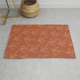 Minimal Line Art Leaf Pattern Terracotta Rug