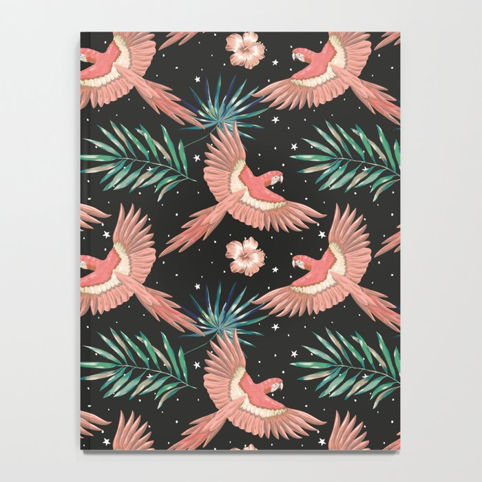 Pink macaw parrots on the starry night sky Notebook