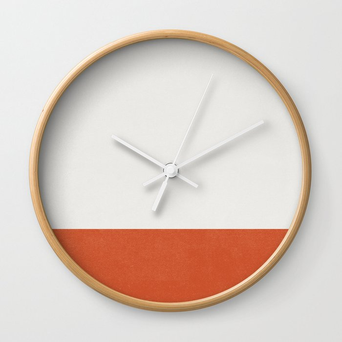 Burnt Orange Color Block Wall Clock