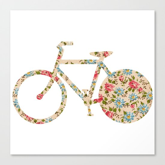 Whimsical cute girly floral retro bicycle Canvas Print