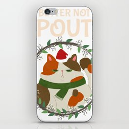Fat Cat Christmas - Better Not Pout Holiday Wreath iPhone Skin