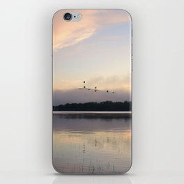Lifting Up: Geese Rise at Dawn on Lake George iPhone Skin