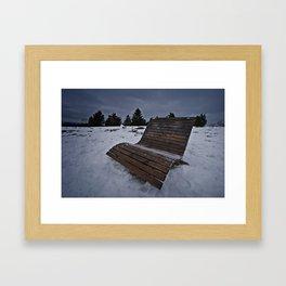 Lonley Bench At Snowy Kahler Asten Framed Art Print