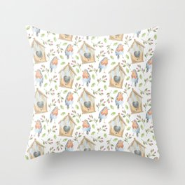 birdhouses, birds, hearts and flowers Throw Pillow