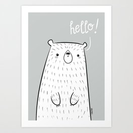 hello little bear Art Print