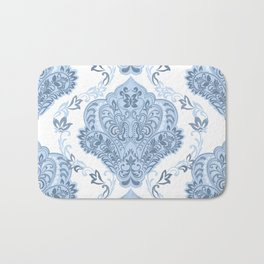 Vintage Blue and White Damask Pattern Bath Mat