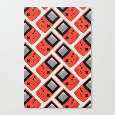Gameboy Color: Red (Pattern) Canvas Print