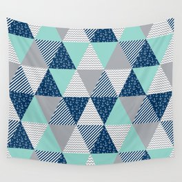 Triangle quilt pattern navy grey and white minimal modern basic nursery Wall Tapestry