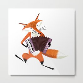Cute red cartoon fox with an accordion Metal Print