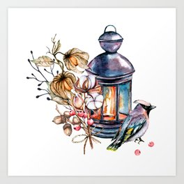 Lantern, candle, candlestick, bird, cotton, physalis. Watercolor hand painting. Art Print