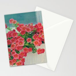 Painterly Summer Floral Coral Red Million Bells in Beachy Window Box Stationery Cards