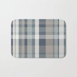 Retro Modern Plaid Pattern 2 in Neutral Blue Gray Taupe Bath Mat