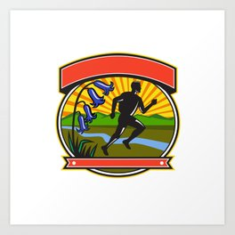Trail Runner Bluebells Oval Icon Art Print