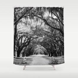 Spanish Moss on Southern Live Oak Trees black and white photograph / black and white art photography Shower Curtain