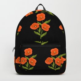 three red poppies on the black Backpack