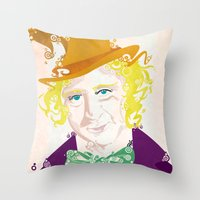willy wonka Throw Pillows featuring Wilder Wonka by Joshua A. Biron