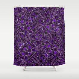 Ultraviolet Mushroom Wood, Field Ferns Leaves  in Lavender Purple Fungi Forest Painting Shower Curtain