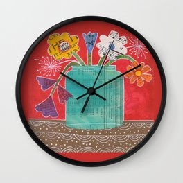 Big Jar of Flowers Wall Clock