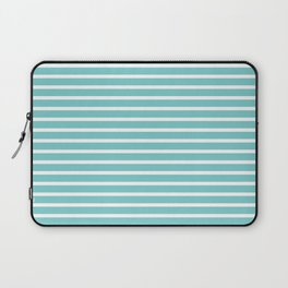 Nautical Teal Sea Breeze Horizontal Stripes Laptop Sleeve