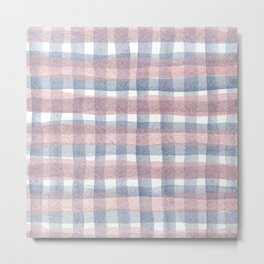 Pink And Blue Watercolour Checkers Metal Print