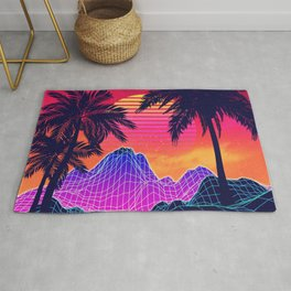 Neon glowing grid rocks and palm trees, futuristic landscape design Rug